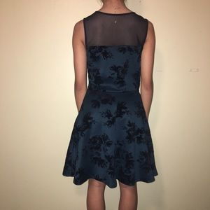 Fit and Flare dress with velvet flower print